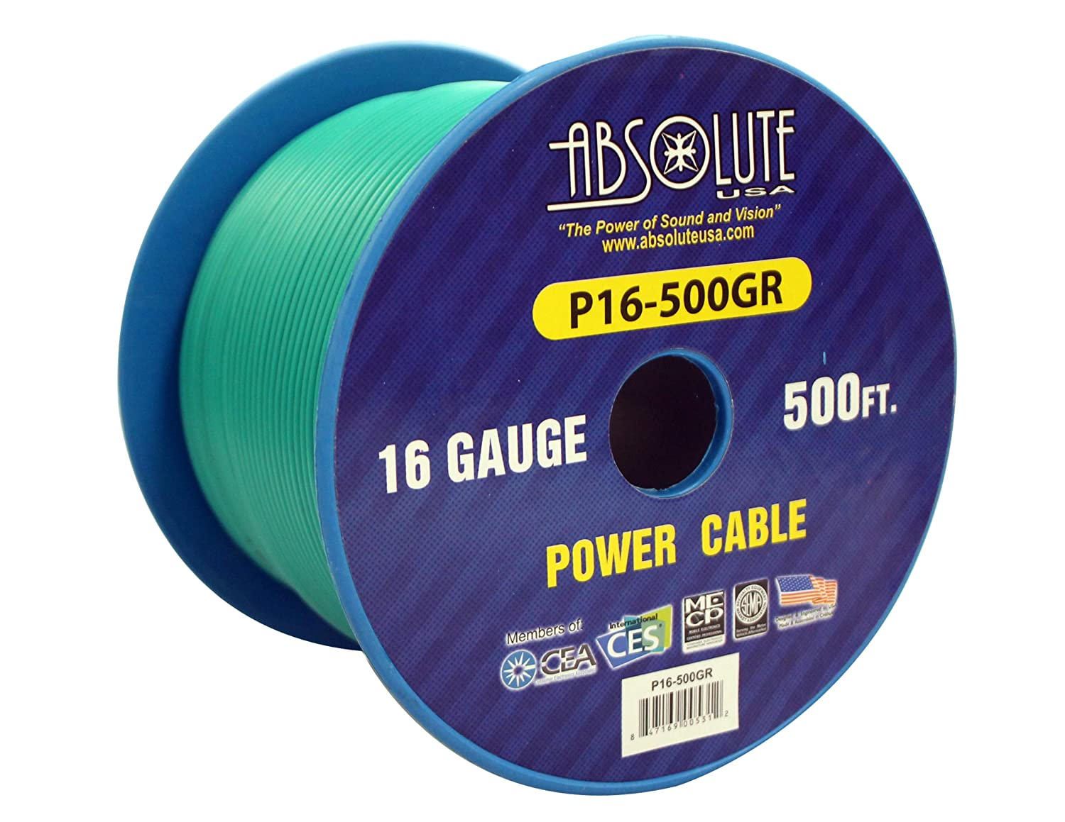 Absolute USA P16-500GR 16 Gauge 500-Feet Spool Primary Power Wire Cable Green