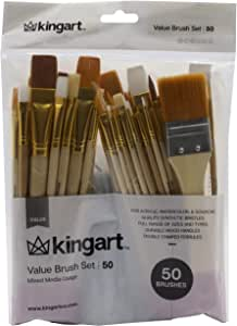 KingArt Mixed Media Value Paint Brush Set, 50 ea