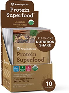 product image for Amazing Grass Protein Superfood: Vegan Protein Powder, All-in-One Nutrition Shake, Peanut Butter, 10 Single Serve Packets