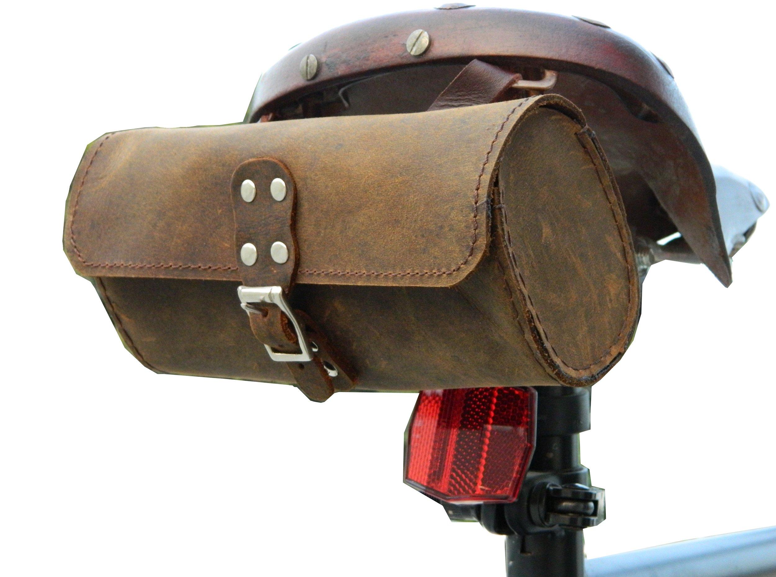 Herte Genuine Leather Bicycle Saddle Bag Utility Tool Bag Brown