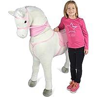 Pink Papaya Giant Riesen XXL Kinderpferd, Luna, 125 cm Plüsch-Pferd zum reiten, Fast lebensgroßes Spielzeug Pferd zum Drauf sitzen, bis 100kg belastbar, mit Verschiedenen Sounds, inkl. Kleiner Bürste