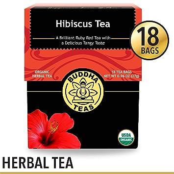 Organic Hibiscus Flower Tea, 18 Bleach-Free Tea Bags – Caffeine Free Tea,  Supports Circulatory
