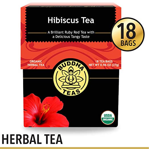 Organic Hibiscus Flower Tea, 18 Bleach-Free Tea Bags - Caffeine Free Tea, Supports Circulatory System, Calms Nervous System and Contains Antioxidants and Vitamin C, No GMOs