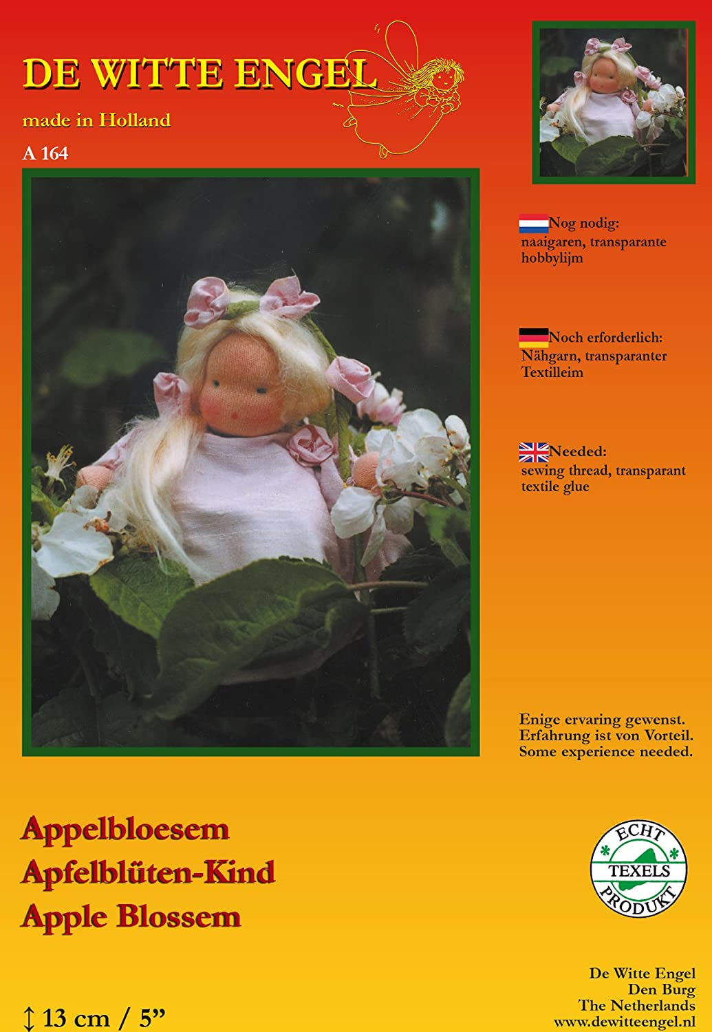 De Witte Engel Apple blossom-diy Doll kit 100% lana, feltro,, 19 x 17 x 2 cm A16400