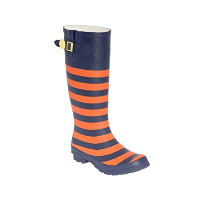 Dark Blue and Orange Rainboots