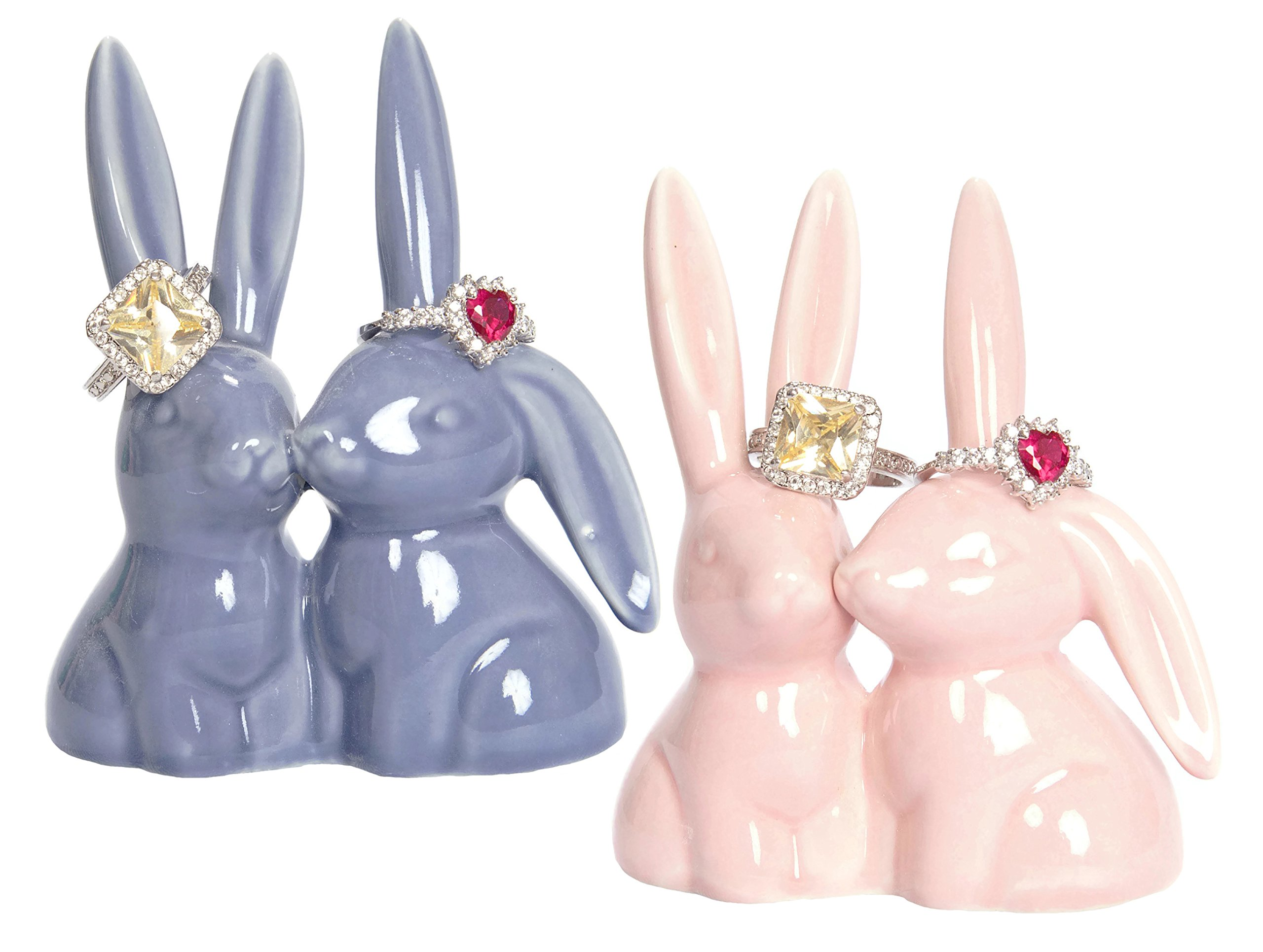 Beth Marie Luxury Boutique Bunny Rabbit Ring Holder (2-Pack), Adorable Pink and Purple Ceramic Engagement and Wedding Ring Holder