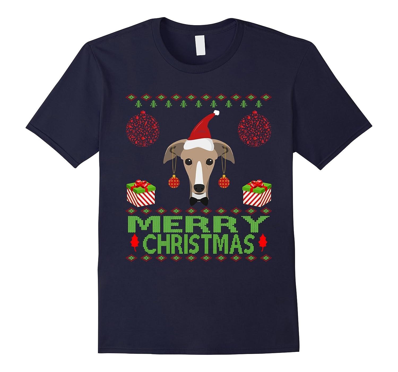 Greyhound Dog Merry christmas jumper style funny pet shirt