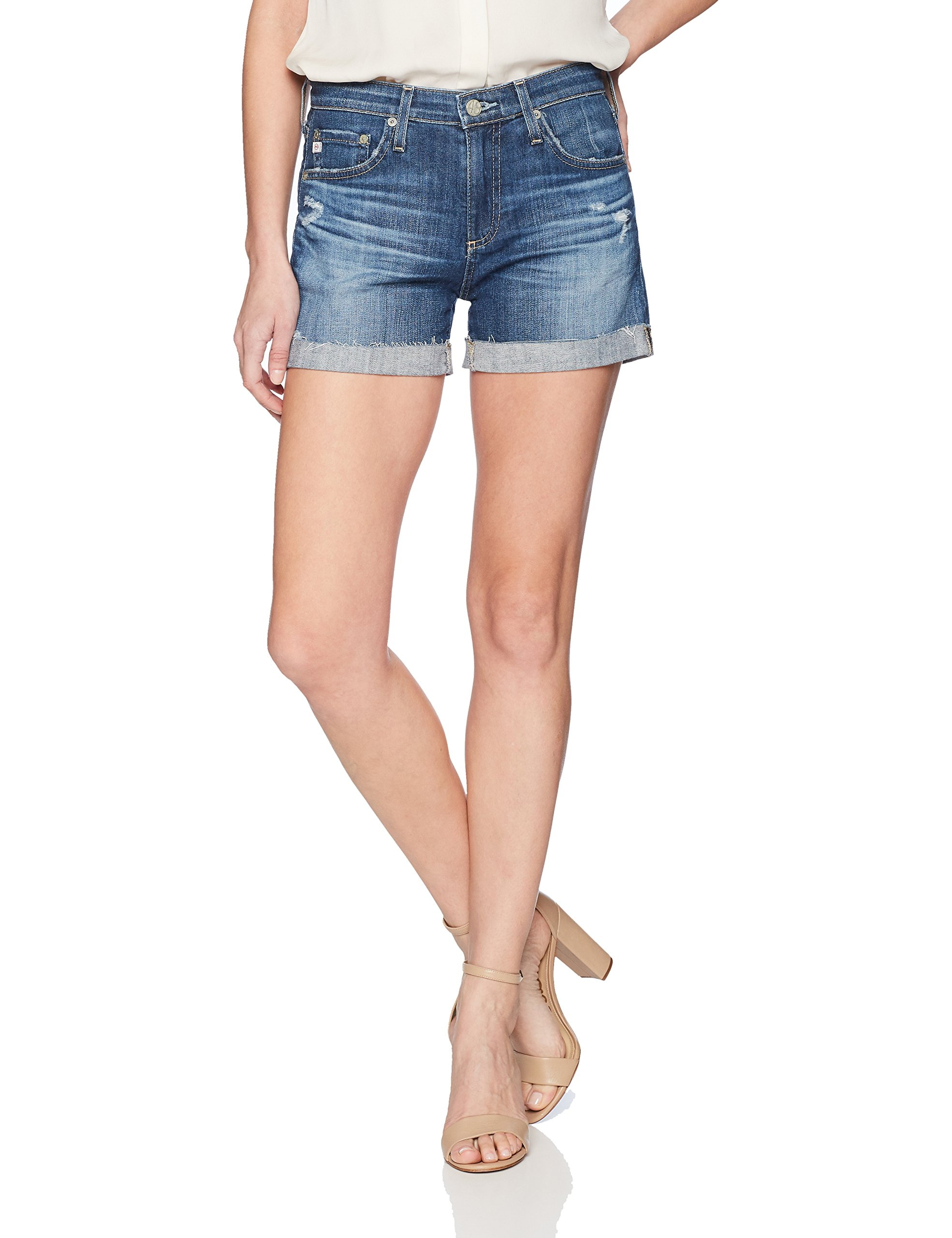 AG Adriano Goldschmied Women's Hailey Roll-up Denim Short, Years Teal Sky, 26