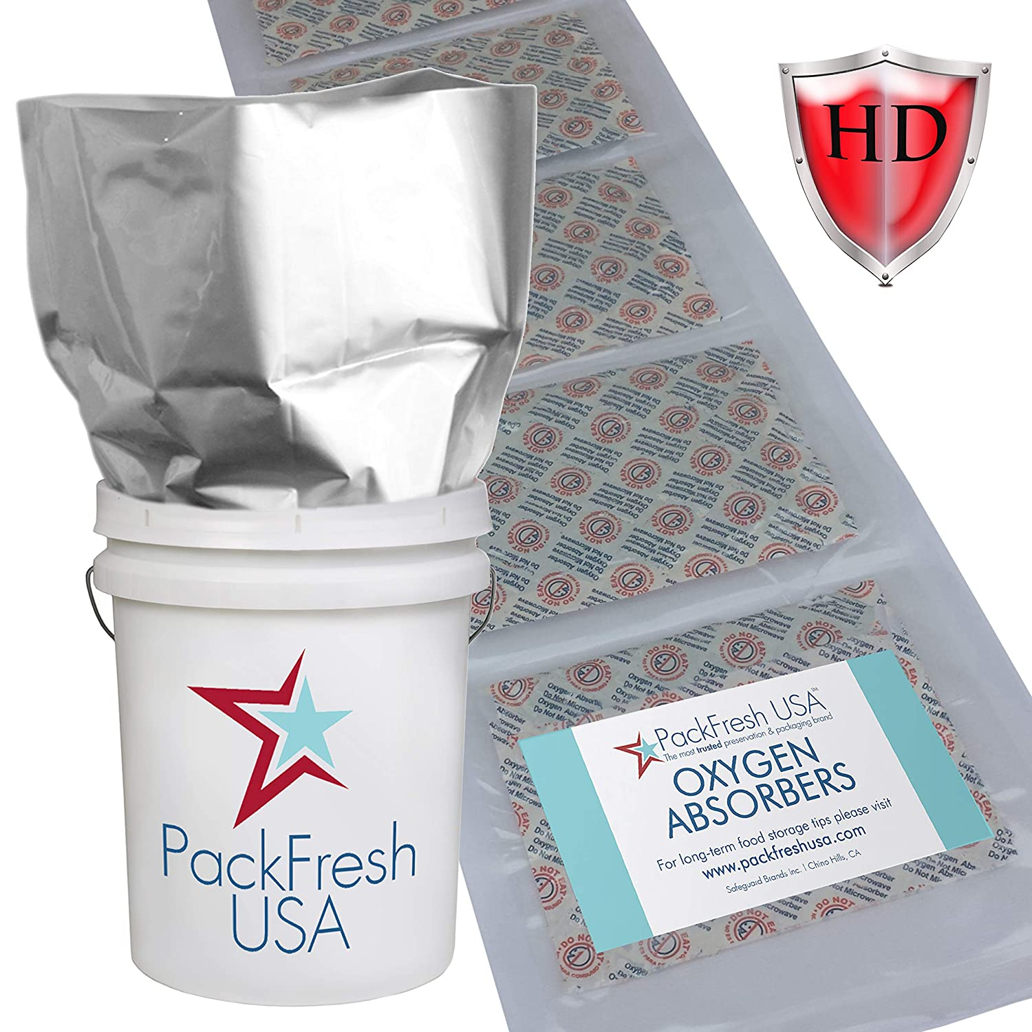 5 Gallon Heavy Duty Mylar bags with 2000cc oxygen absorbers Individually Sealed (6) with PackFreshUSA LTFS Guide