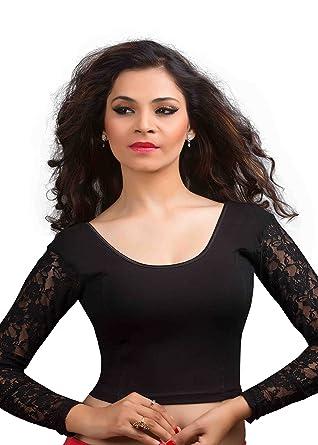 053482029d1f87 Amazon.com  Black Long Sleeve Ready-made Lycra Stretchable Saree Blouse  Sari Choli Crop Top  Clothing
