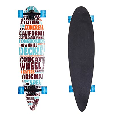 """ANCHEER 40"""" Longboard Pintail Cruising Style Complete Long Skateboard for Adult Teens and Kids Age 8 Up : Sports & Outdoors"""