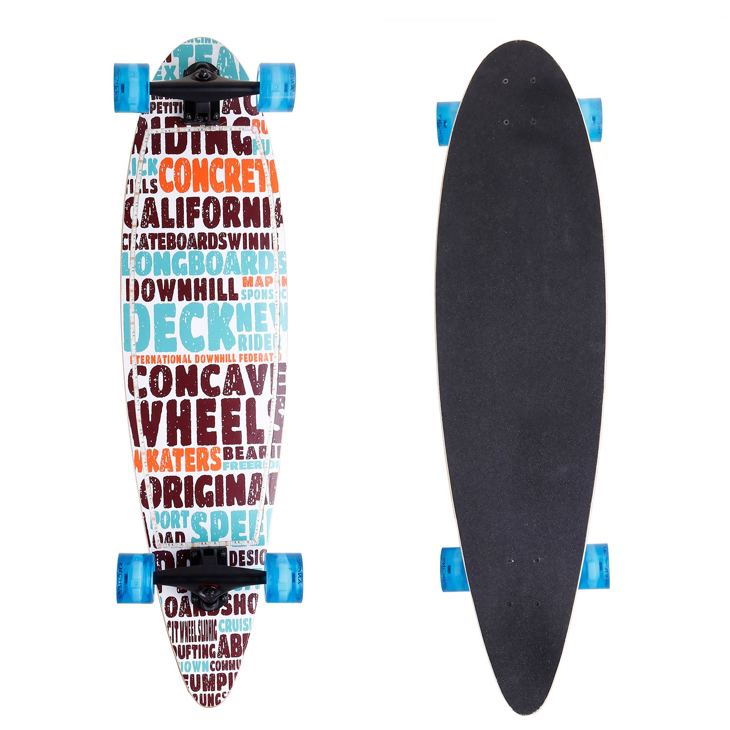 ANCHEER 40'' Longboard Pintail Cruising Style Complete Long Skateboard for Adult Teens and Kids Age 8 Up