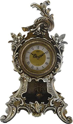 ThreeStar Ornate Victorian Mantel Clock with Swinging Pendulum