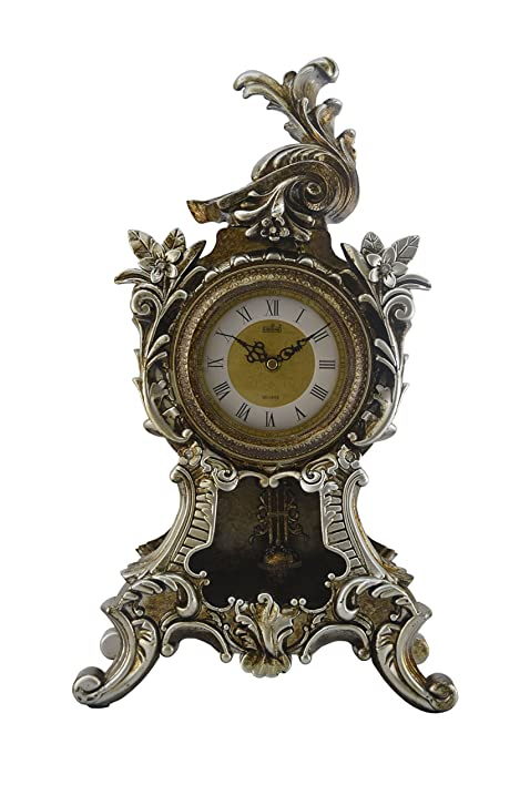 Elegant Vintage Tabletop Style Decorative Table Clock With Swinging Pendulum