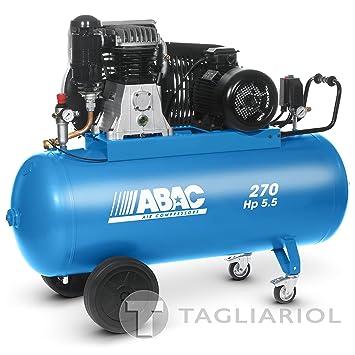 Abac Pro B6000270ct5,5Compresor 270L Motor Trifásico 5,5hp con transmisión a correa bistadio: Amazon.es: Bricolaje y herramientas