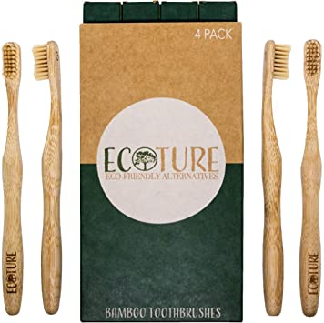 Ecoture - Cepillo de dientes de bambú biodegradable - Cepillo de ...