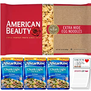 Extra Wide Egg Noodles and Tuna Pouch Pack of 4 | Starkist Chunl Light Tuna in Water Pack of 3 | American Beauty Egg Noodles for Tuna Casserole | Snack Fun Shopping Pad