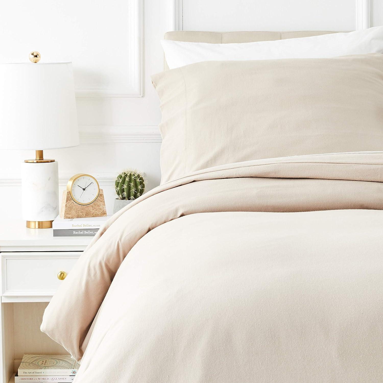 Beige Basics Parure de lit avec housse de couette en flanelle 140 x 200 cm//65 x 65 cm x 1