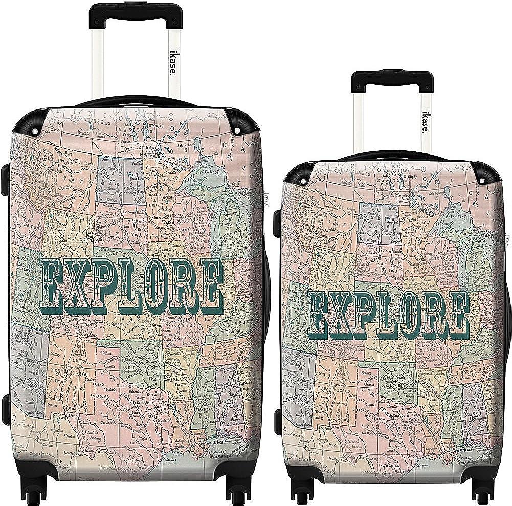 Ikase Hardside Spinner Luggage Vintage Map of United States