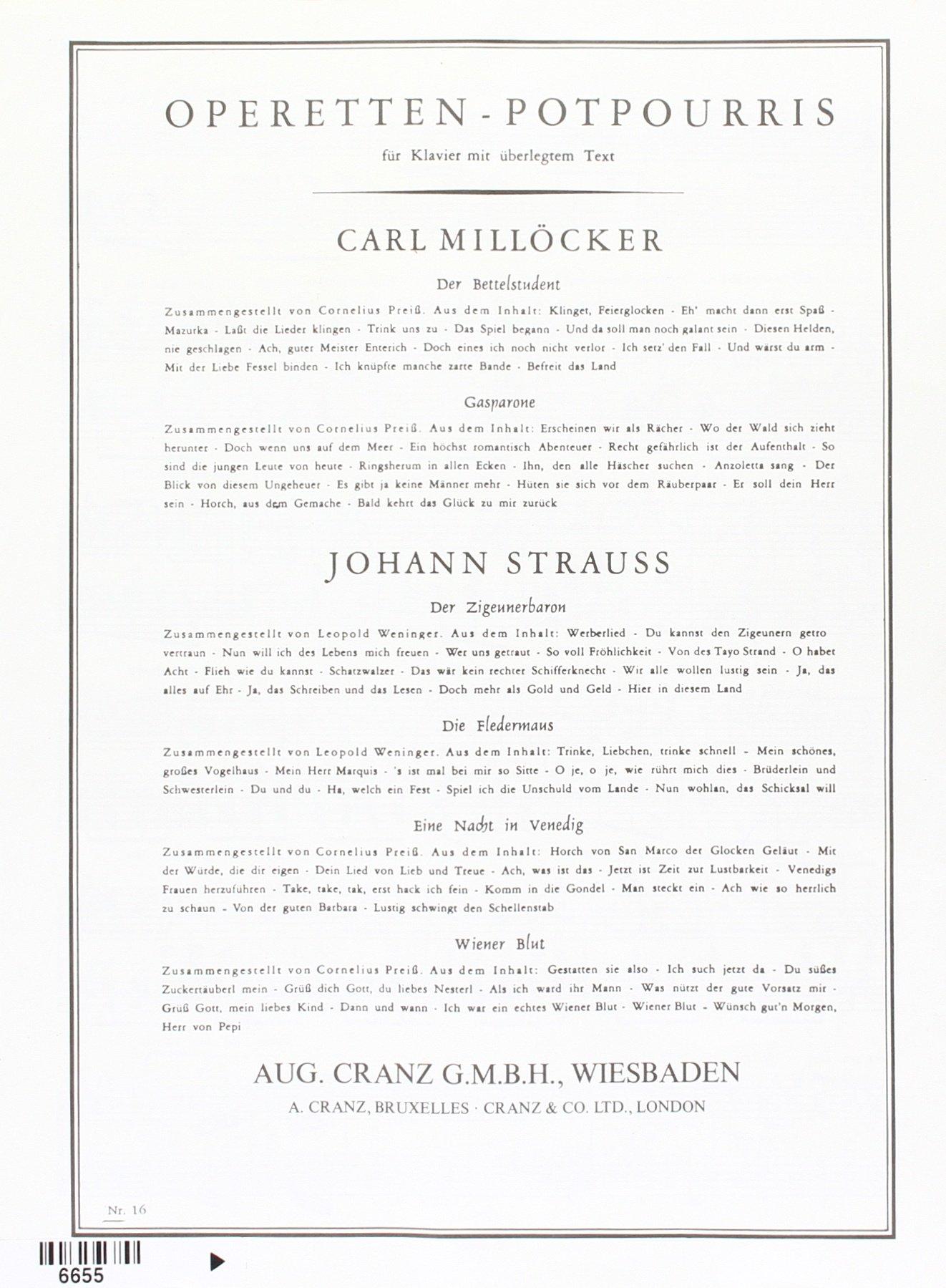 Wiener Blut Potpourri Gesang Und Klavier Amazonde Johann