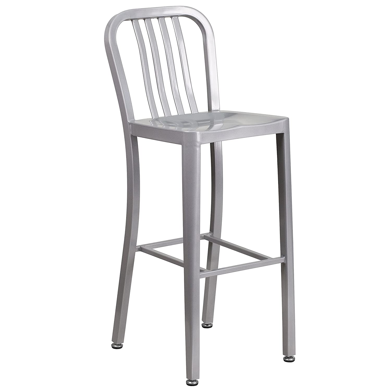 Amazon.com Flash Furniture 30u0027u0027 High Silver Metal Indoor-Outdoor Barstool with Vertical Slat Back Kitchen u0026 Dining  sc 1 st  Amazon.com & Amazon.com: Flash Furniture 30u0027u0027 High Silver Metal Indoor-Outdoor ... islam-shia.org