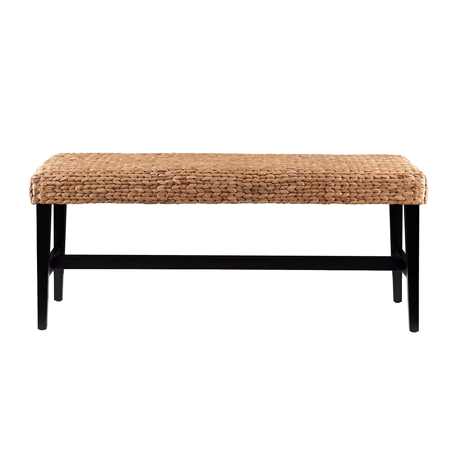 Southern Enterprises Water Hyacinth Bench, Black and Natural Finish AMZ6520