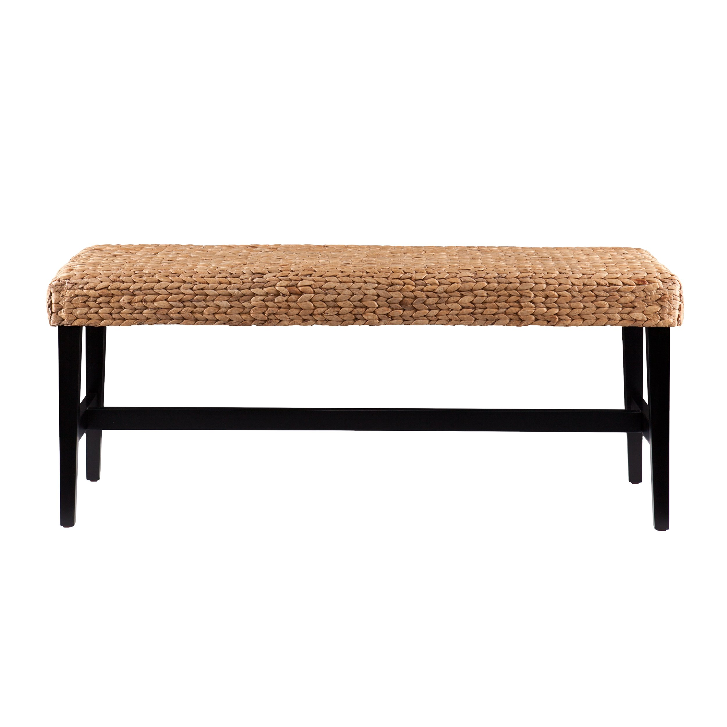 Water Hyacinth Woven Bench - Wood Frame Base - Coastal Inspired Style