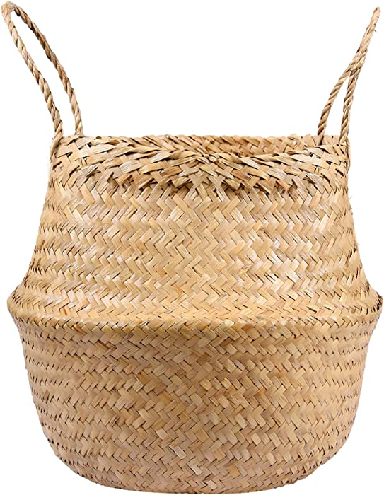 Chinoxinh Seagrass Wicker Basket with Handle, Handmade Woven Basket Planter, Weave Rural Belly Storage for Plant Basket, Pot, Laundry, Clothes & Blanket and Outdoor Picnic (Original Large 11x14in)