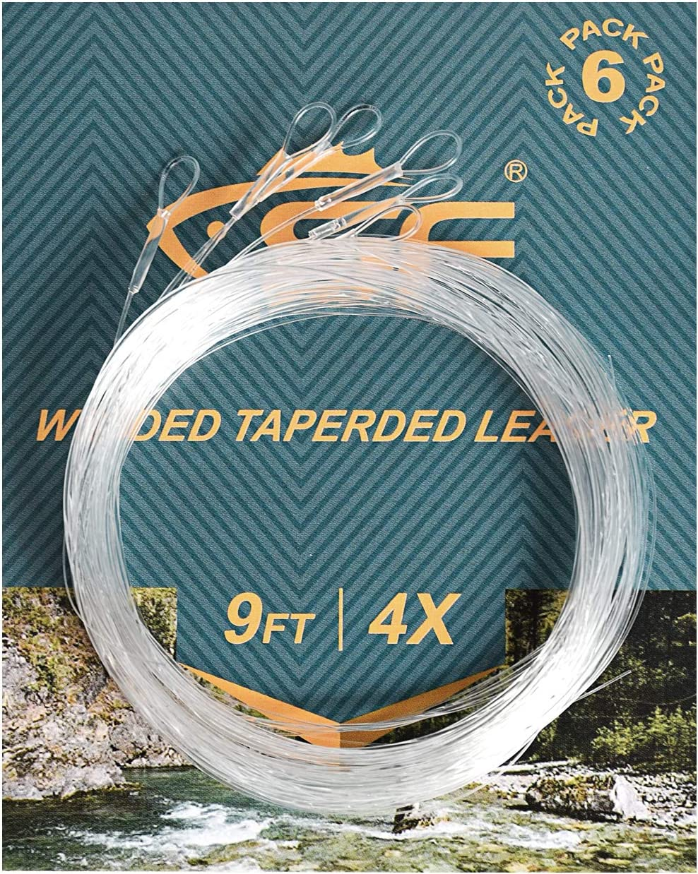 SF Loop Fly Fishing Tapered Leader Nylon 6 Packs 7.5ft 9ft 12ft 0X 1X 2X 3X 4X 5X 6X 7X