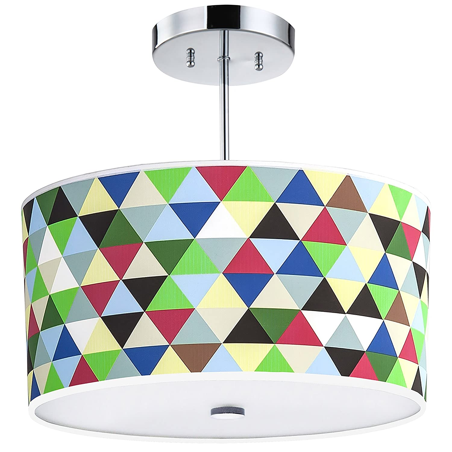 Multi-Colored Triangles Light Fixture,16-Inches, 3-Light