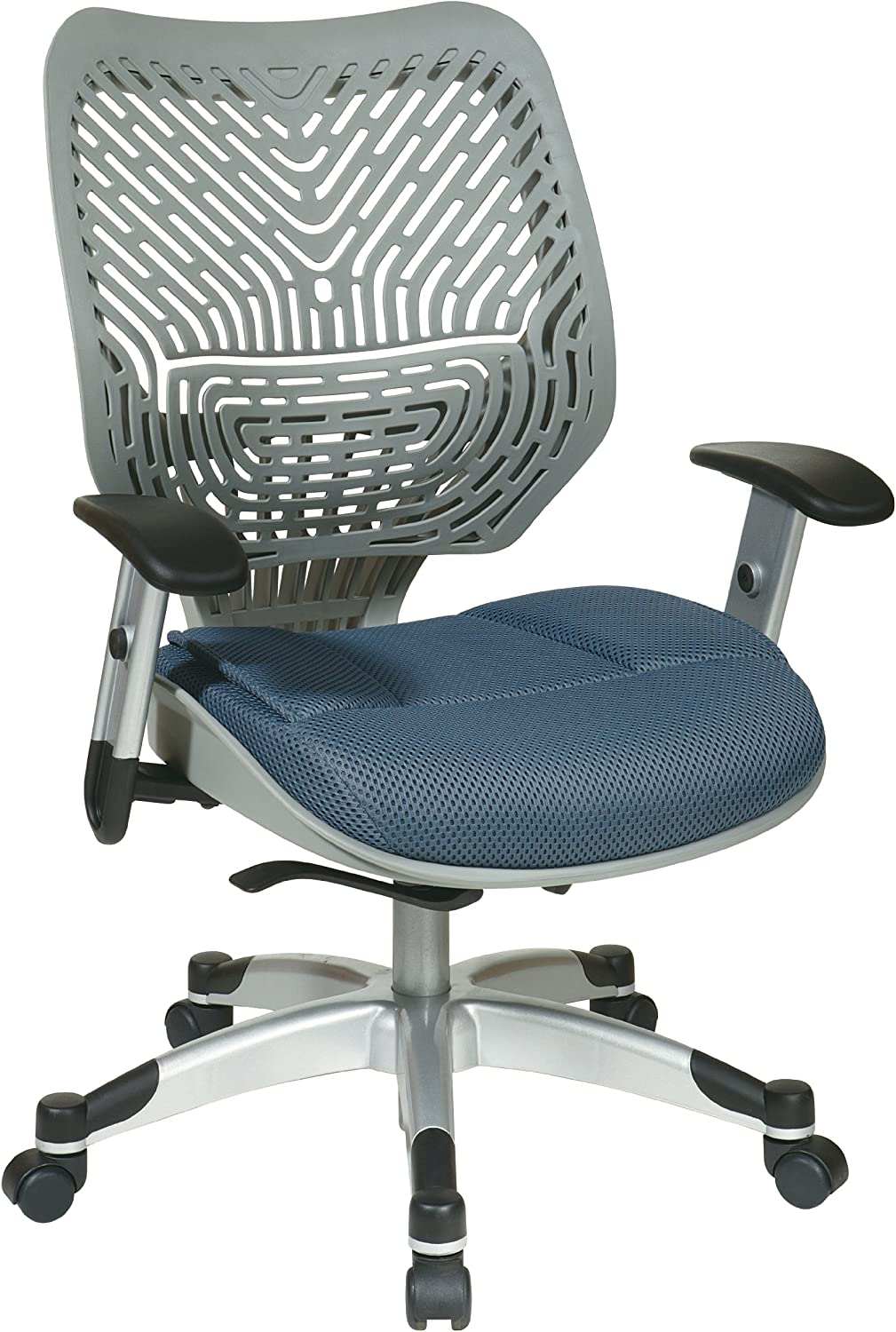 SPACE Seating REVV Self Adjusting SpaceFlex Fog Backrest Support and Padded Blue Mist Mesh Seat with Adjustable Arms and Platinum Finish Base Managers Chair