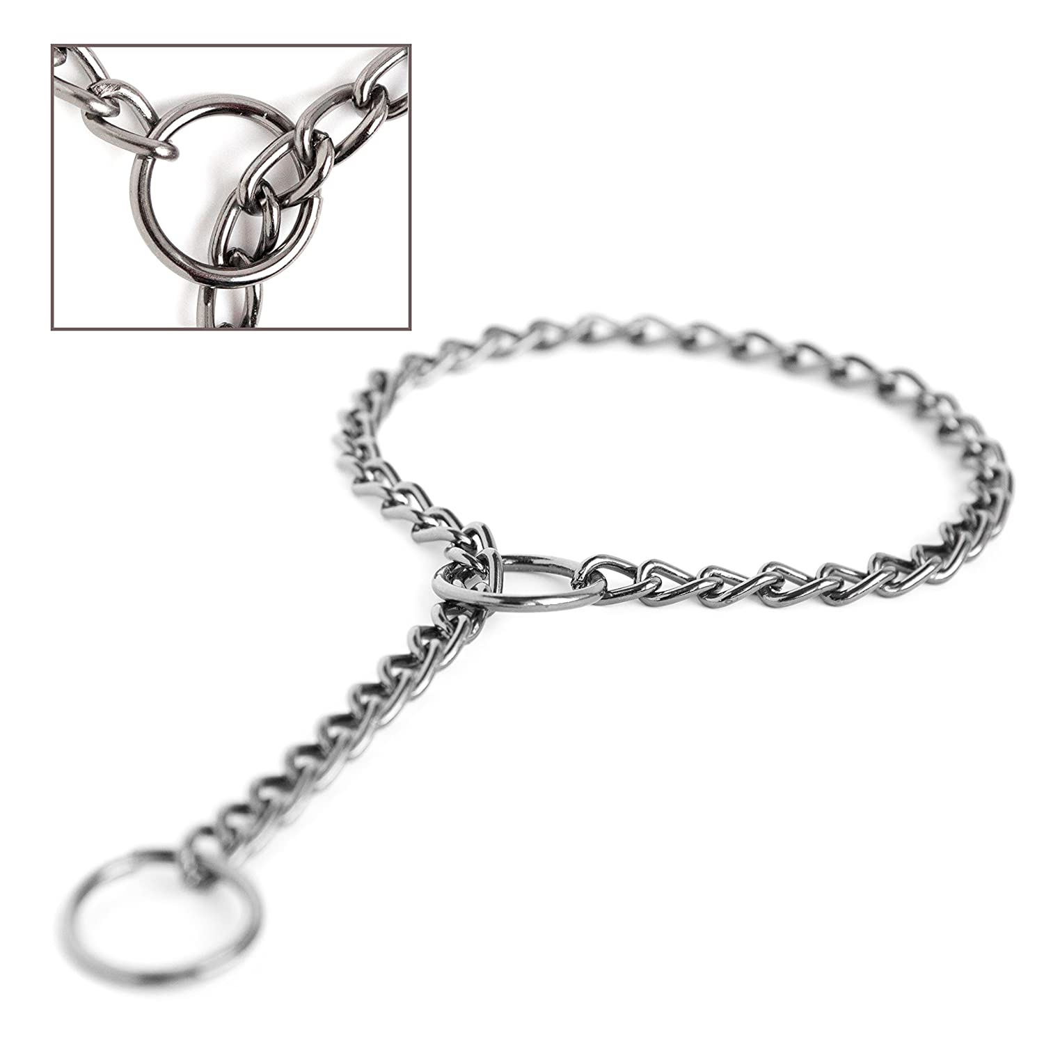 20 inch Mighty Paw Gun Metal Chain Slip Collar, Cinch Dog Collar, Choke Chain Metal Collar