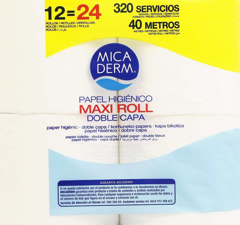 Mica Derm Papel Higiénico, Maxi Roll, Doble Capa - 12 Rollos: Amazon.es: Amazon Pantry