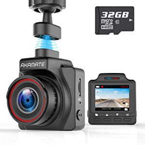 "Dash Cam, AKAMATE Magnetic Dashboard Recording Camera 1.5"" Mini DVR Car Camera Full HD 1080P, 145° Wide Angle, G-Sensor, Loop Record, WDR, Parking Mode, Motion Detection, with 32GB Card"