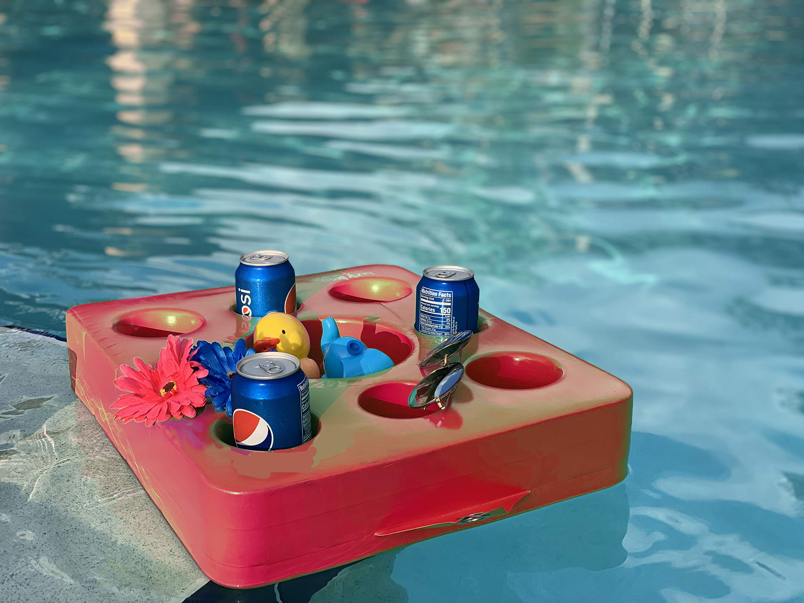 Lazy Floats Floating Refreshment Drink Tray-Perfect for Pools Sandbars Parties (Pink)