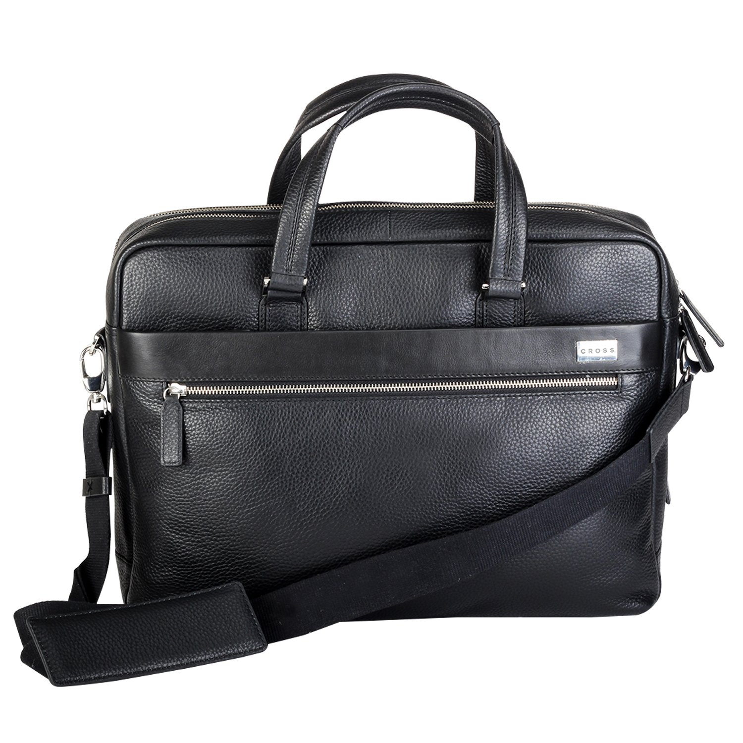 CROSS Men's Genuine Leather Weekender / Office / Laptop / Business Bag -15.6 inches Laptop Compartment (Black)