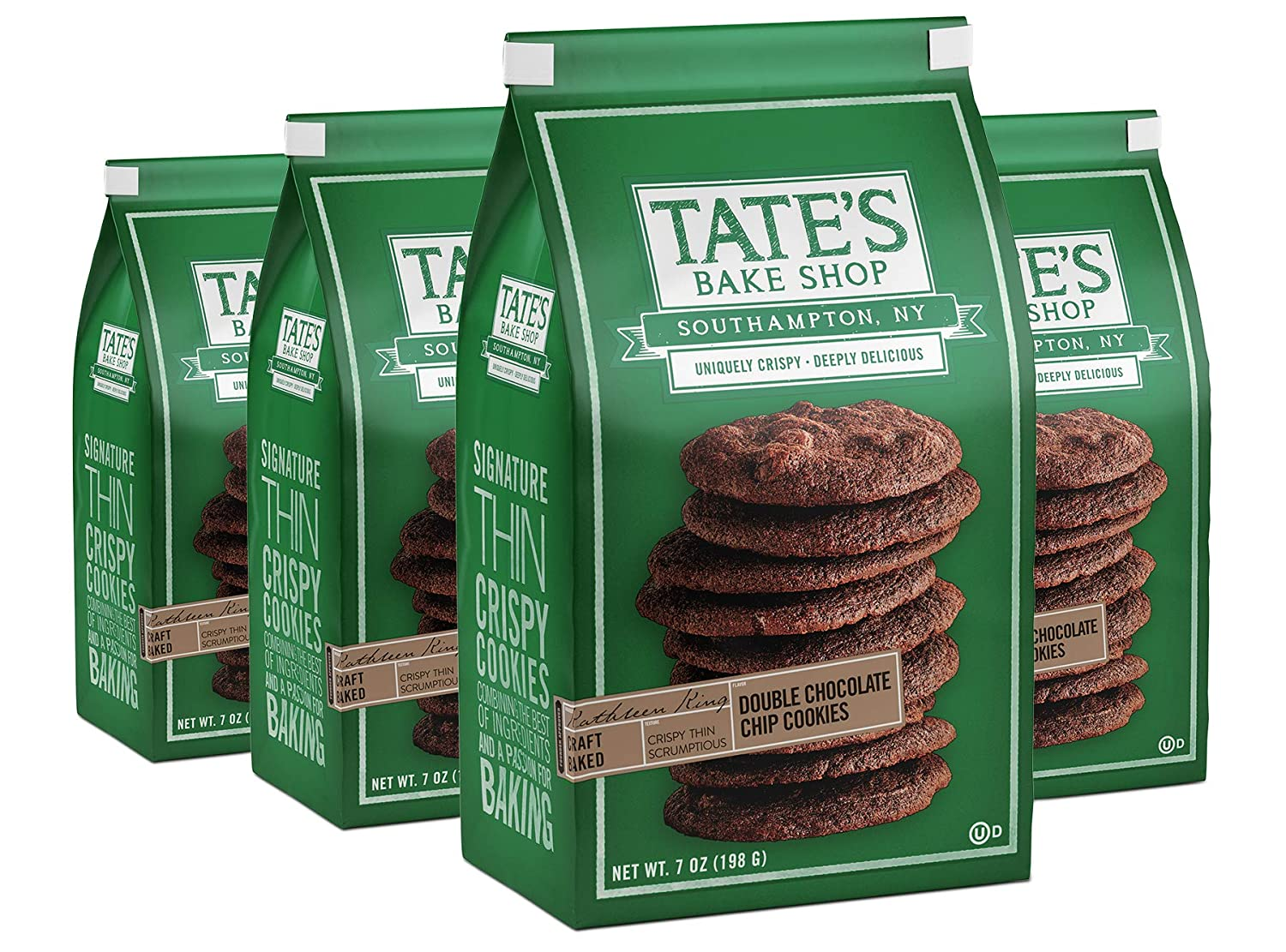 Tate's Bake Shop Thin & Crispy Cookies, Double Chocolate Chip, 7 Oz, 4Count