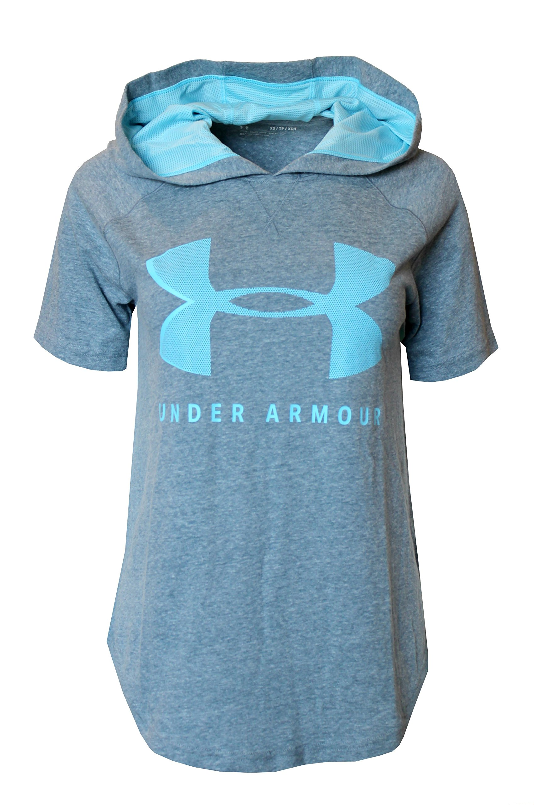 Under Armour Women's Short Sleeve Hooded Shirt Athletic Hoodie (Grey/Blue, M)