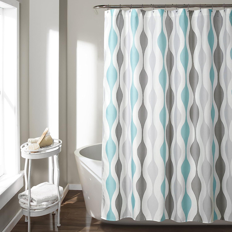 "Lush Decor 16T002808 Mid Century Geo Shower Curtain, 72"" x 72"", Blue & Gray"