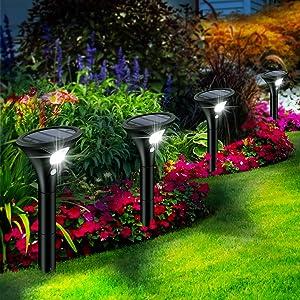Leolee Solar Pathway Lights, 4 Pack LED Solar Powered Garden Lights 2 Modes Max 120H Lighting Solar Landscape Lights IP65 Waterproof Solar Motion Lights Outdoor for Walkway, Yard, Patio, Driveway