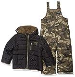 Skechers Boys' Little 2-Piece Heavyweight Snowsuit, Black and Olive Camo Print, 5/6