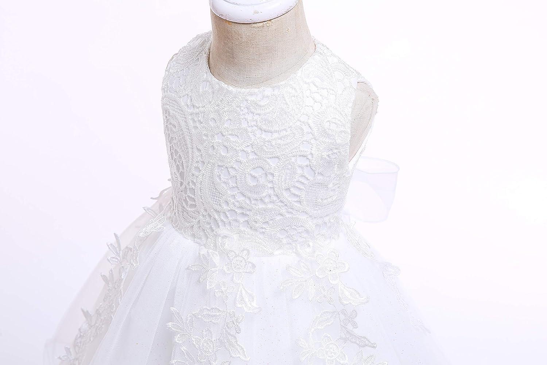 LZH Bambin Anniversaire Robe De B/éb/é Fille Bowknot Mariage Tutu Princesse Robe en Dentelle de Fleurs