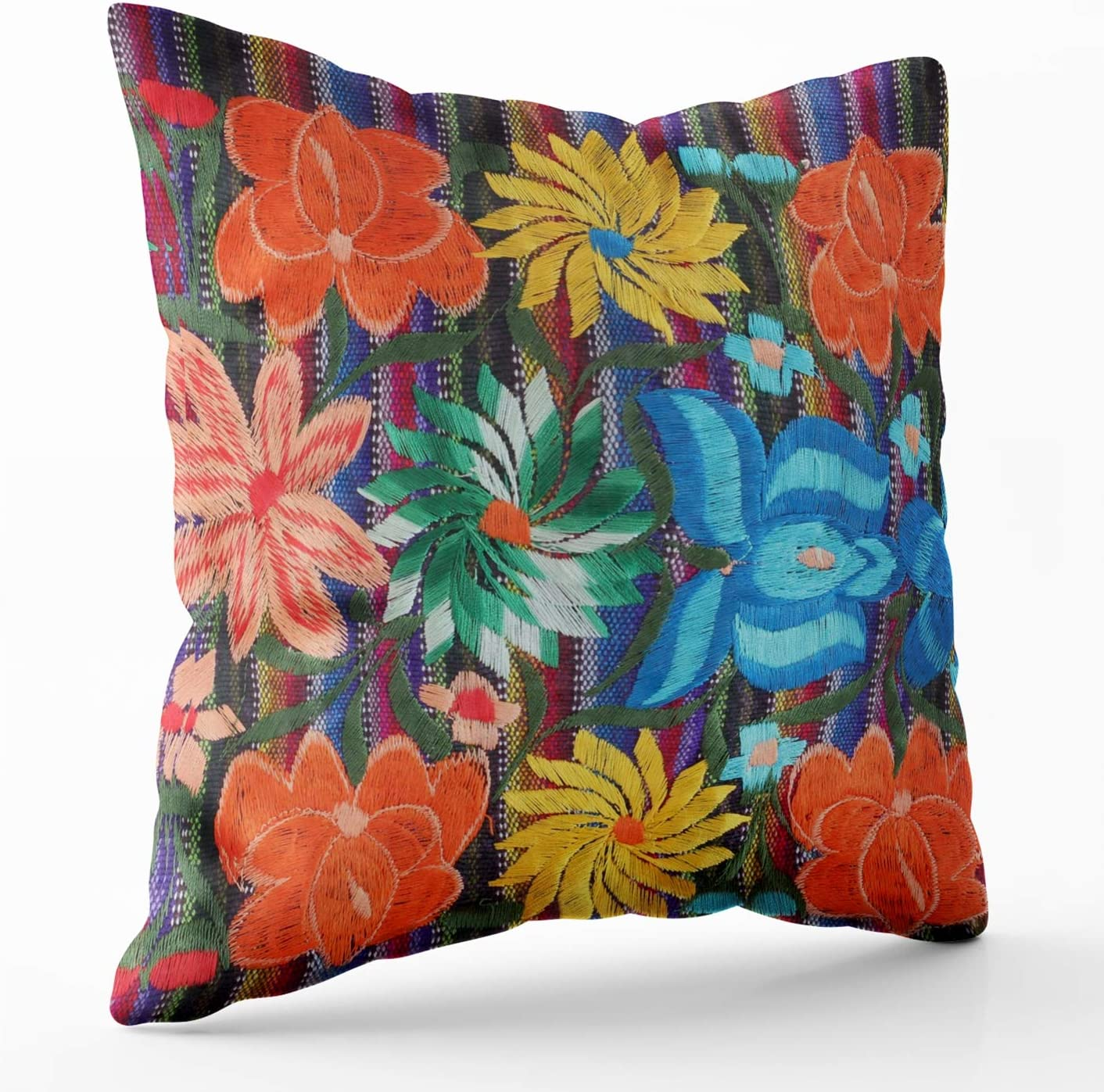 Shorping Zippered Pillow Covers Pillowcases 20X20 Inch mexican embroidery design lumbar Decorative Throw Pillow Cover,Pillow Cases Cushion Cover for Home Sofa Bedding