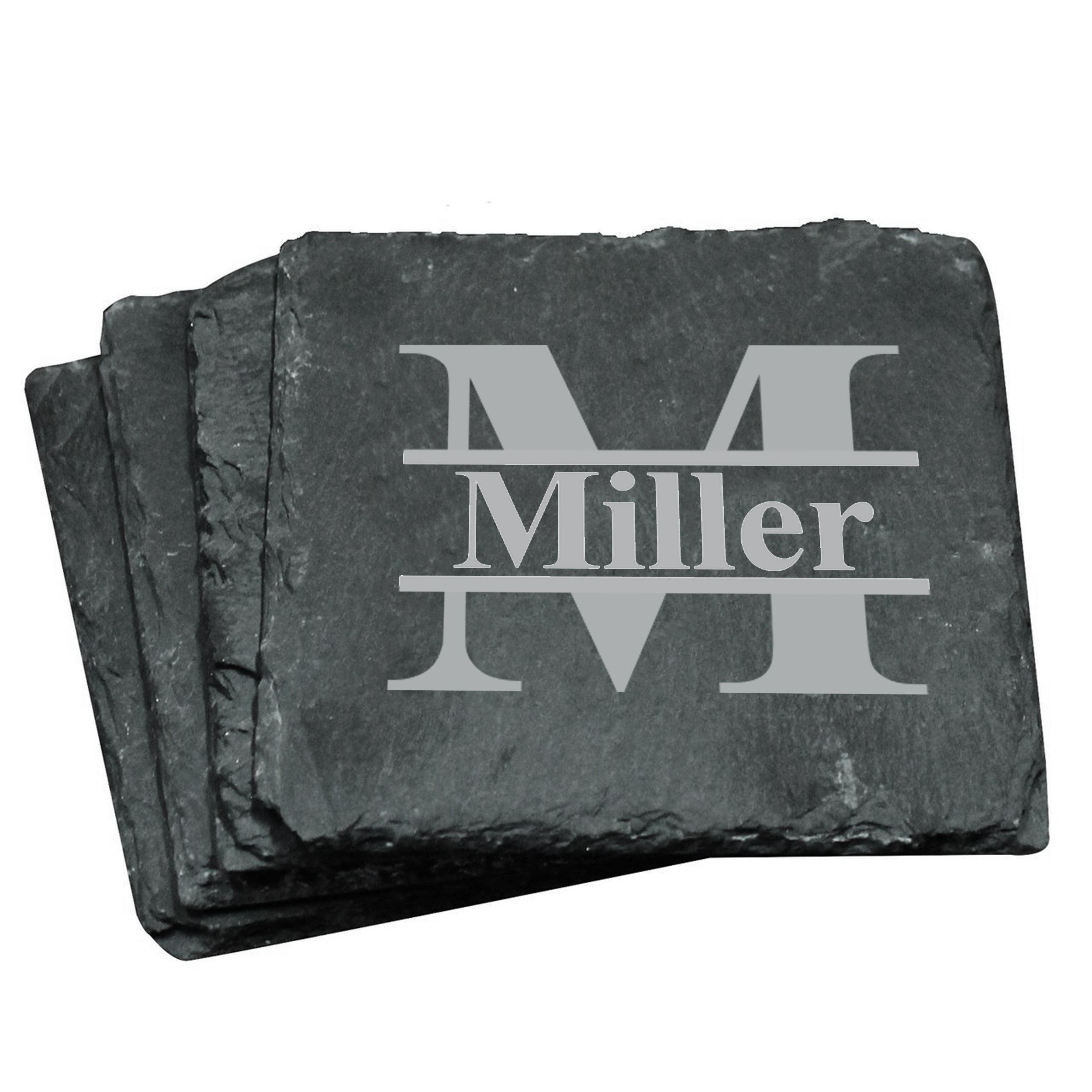 Custom Personalized Slate Drink Square Coasters Set of 4 - Monogrammed and Engraved for Free by My Personal Memories