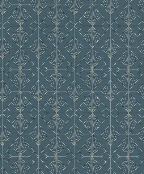 Rasch Henri Dark Green Geometric Wallpaper