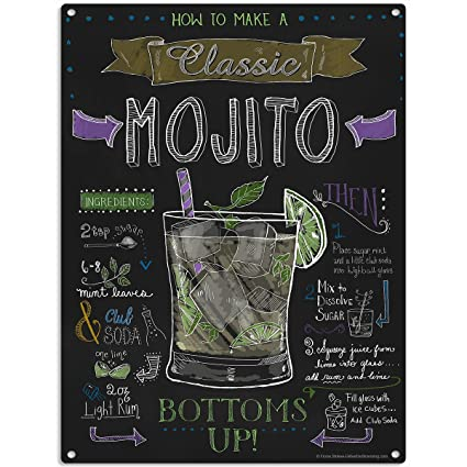 The Original Metal Sign Mojito Recipe Pizarra Estilo Signo ...