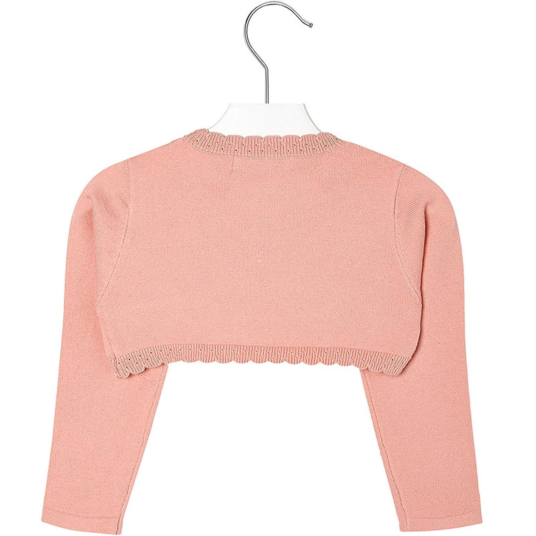 Mayoral Girls 2T-9 Papaya-Orange Scallop Edge Knit Shrug Cardigan Sweater