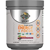 Garden of Life SPORT Organic Plant-Based Energy + Focus Vegan Pre Workout Powder, Sugar Free Blackberry Cherry - Clean…