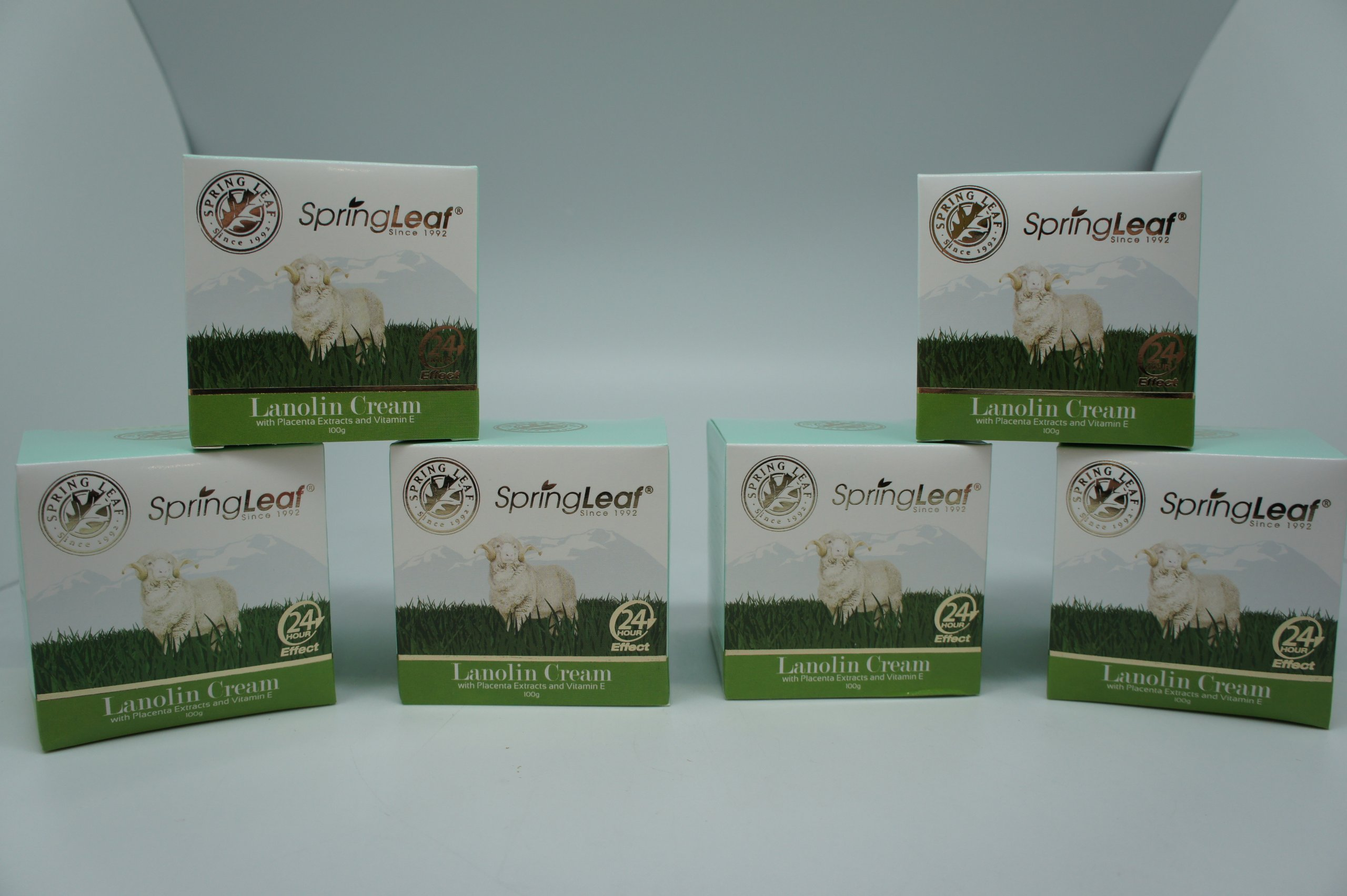 Spring Leaf Lanolin with Palcenta and Vitamin E Cream (Pack of 6)