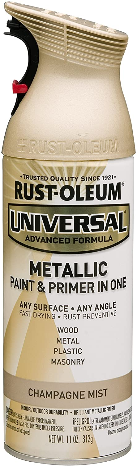 Rust-Oleum 261415 Universal All Surface Spray Paint 11 oz, Metallic Champagne Mist, Each